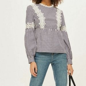 TOPSHOP Blue & White Gingham Lace Blouse